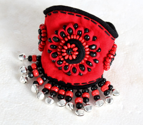 Ethnic style red flower bangle bracelet with bells bohemian style bracelet band - Xingjewelry