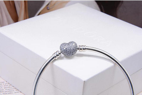 Pandora bracelet snake chain with sparkling clasp - Xingjewelry