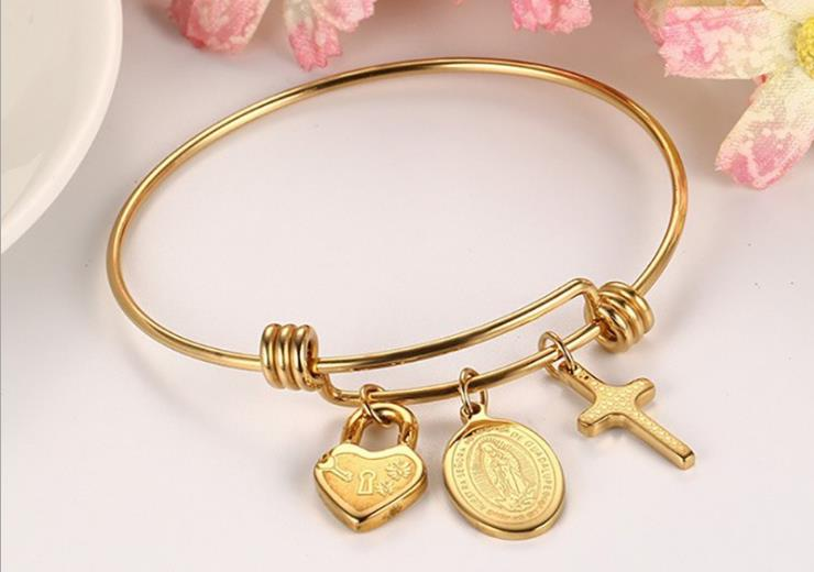gold plate saint mary cross heart lock push bangle bracelet - Xingjewelry