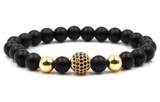 Gold grind anaceous stone beaded elastic hot selling bracelet