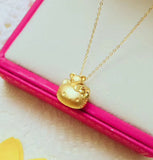 Gold Hello Kitty  with 24k Gold Pendant Necklace