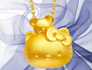 24 k pure gold hello kitty  pendant charm - Xingjewelry