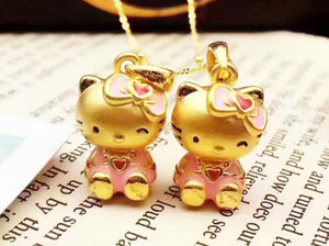 24k gold hello kitty necklace and pendant - Xingjewelry