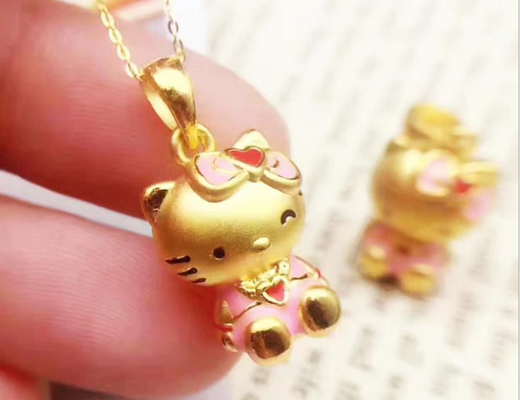 61d7ef61d 24 K Gold Hello Kitty Necklace and Pendant Made with Pure Gold ...