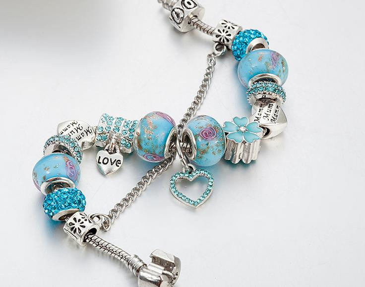Blue theme mum charm bracelet monther's day gift - Xingjewelry