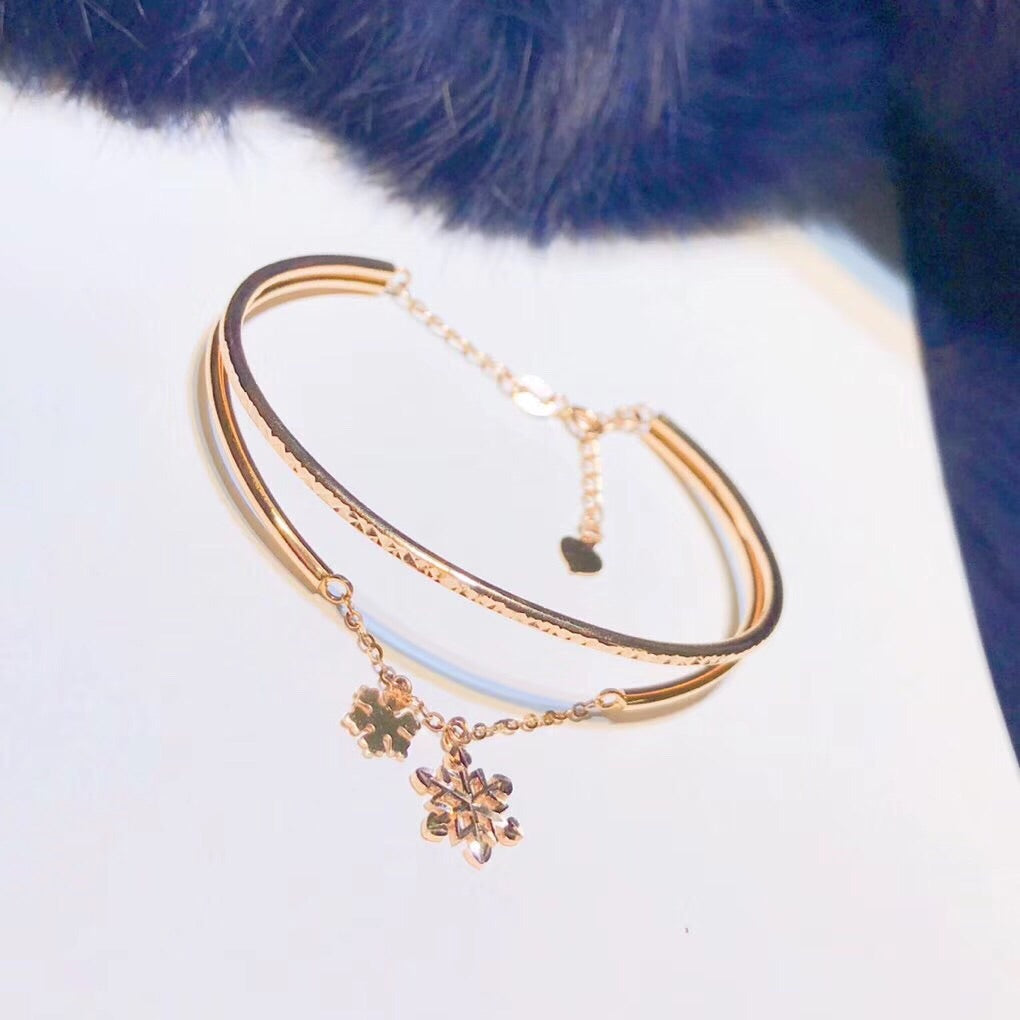 18 k rose gold adjustable snow flake pendant bangle bracelet - Xingjewelry
