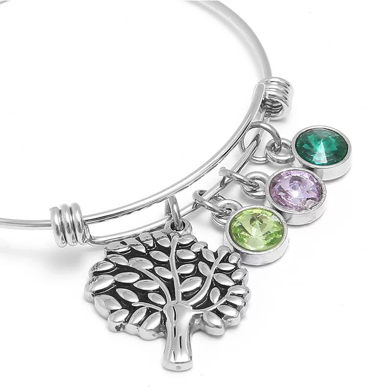 Titanium steel family tree push bangle bracelet