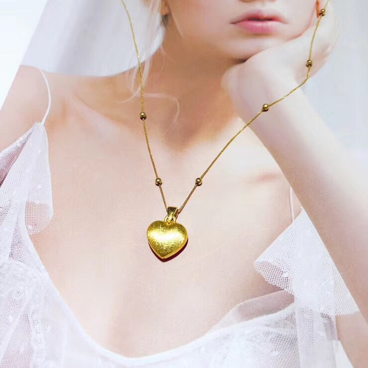 18 gold heart pendant necklace - Xingjewelry