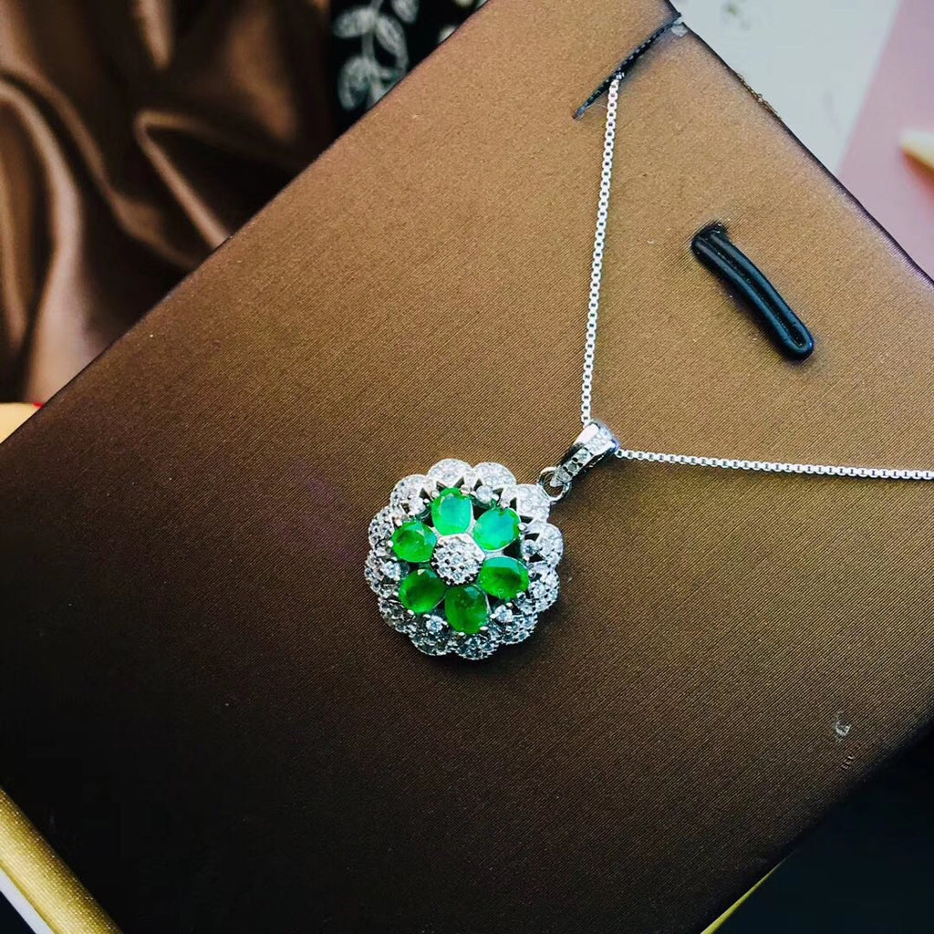 925 sterling silver emerald flower pendant necklace ring set