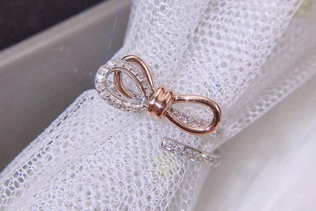 18k gold diamond bow tie ring - Xingjewelry