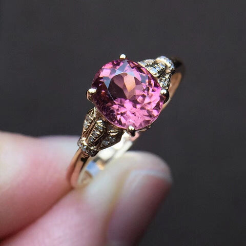 18k gold purple tourmaline diamond ring - Xingjewelry