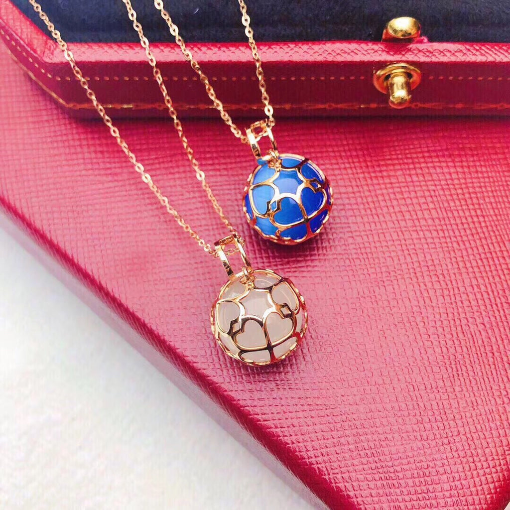 18k gold blue cateye pendant necklace - Xingjewelry