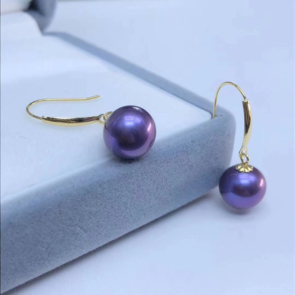 18k gold 7-8mm Tahitian purple earring - Xingjewelry