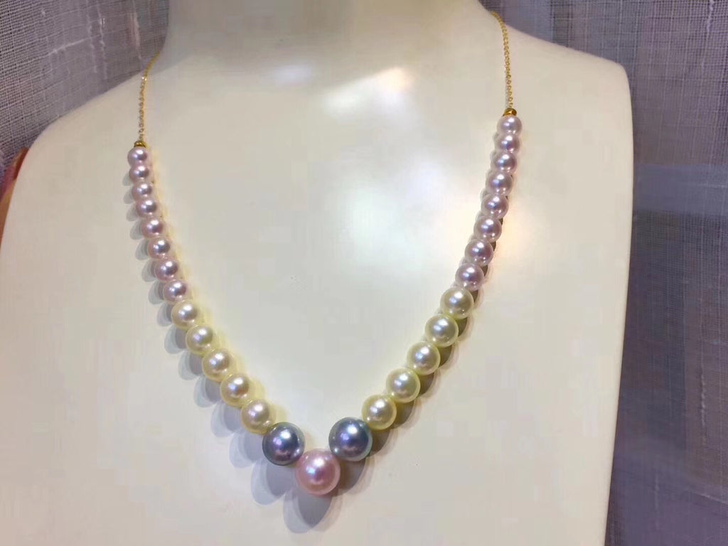 Natural akoya pearl necklace mixed color