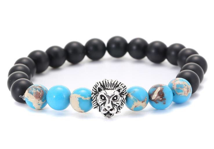 Tiger eye stone agate bead lion head bracelet - Xingjewelry