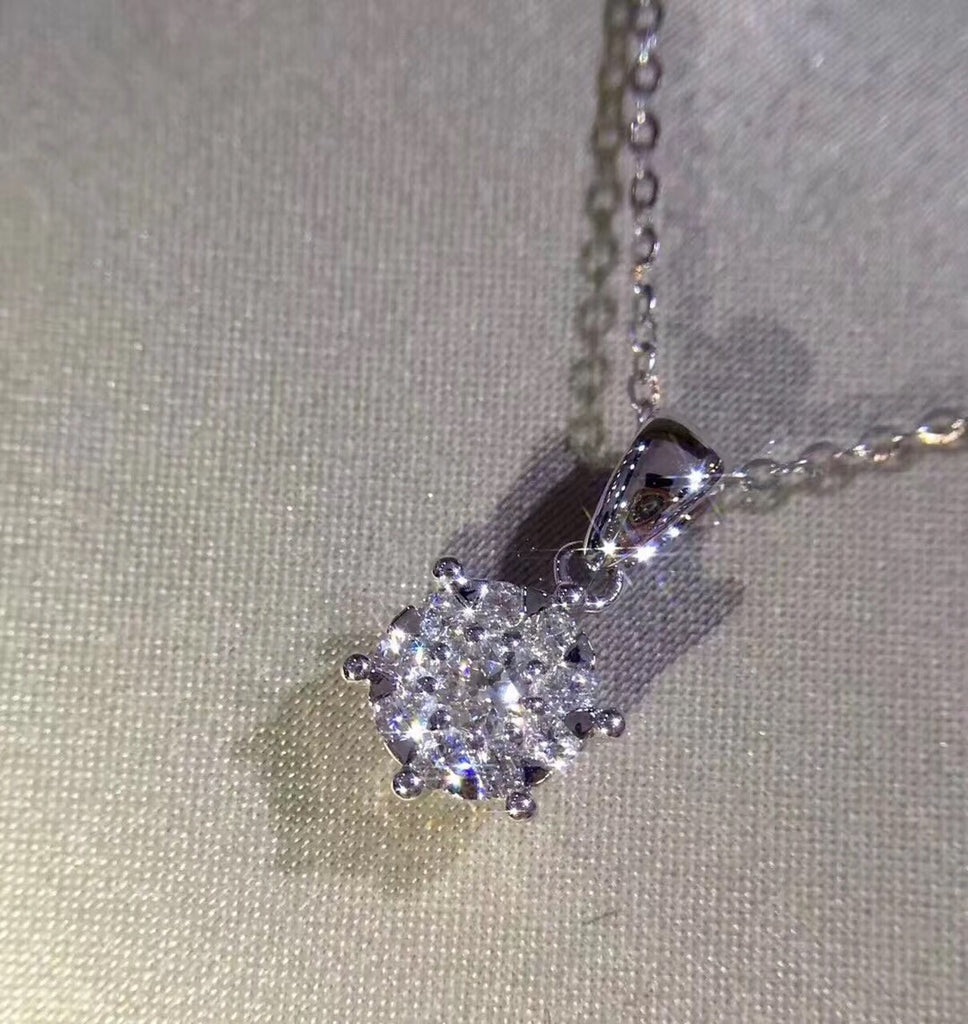 18k Gold Diamond Pendant Necklace Made with Pure Gold - Xingjewelry