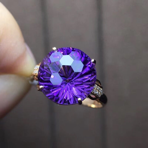 18k gold purple crystal ring