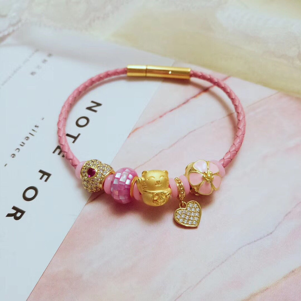 Pink 18k gold fortune cat leather bracelet p - Xingjewelry