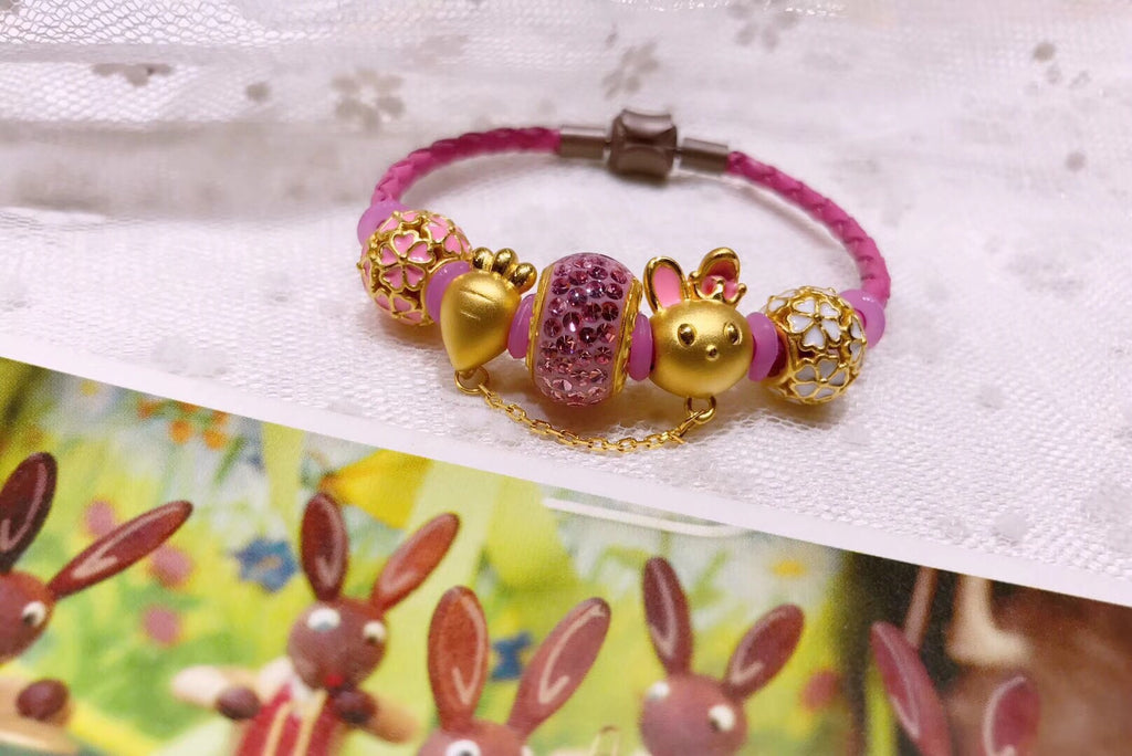 18k gold radish bunny leather pink charm bracelet - Xingjewelry