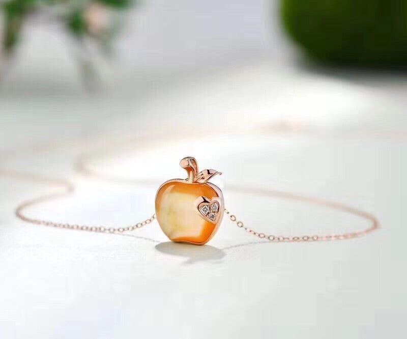 18k gold Christmas apple necklace - Xingjewelry
