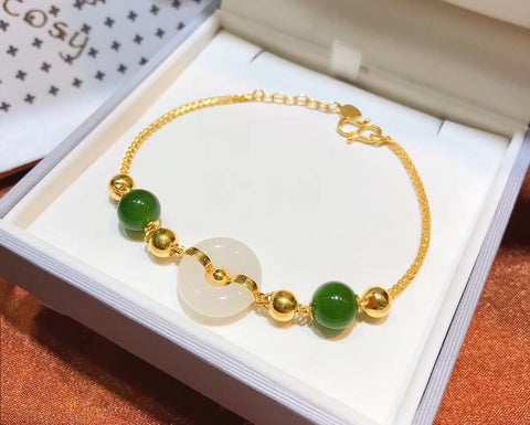 18k gold jade adjustable bracelet - Xingjewelry