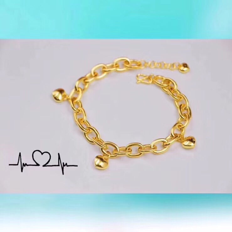 18k gold chain bracelet with heart charm - Xingjewelry