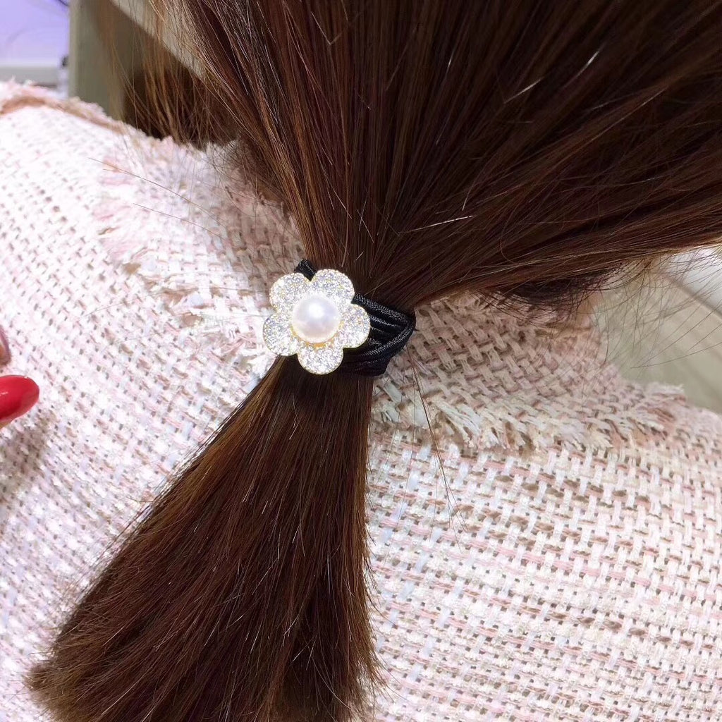 Black elastic flower pearl hair band hair rope