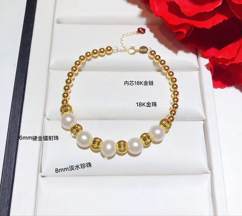18k gold bead pearl adjustable bracelet - Xingjewelry