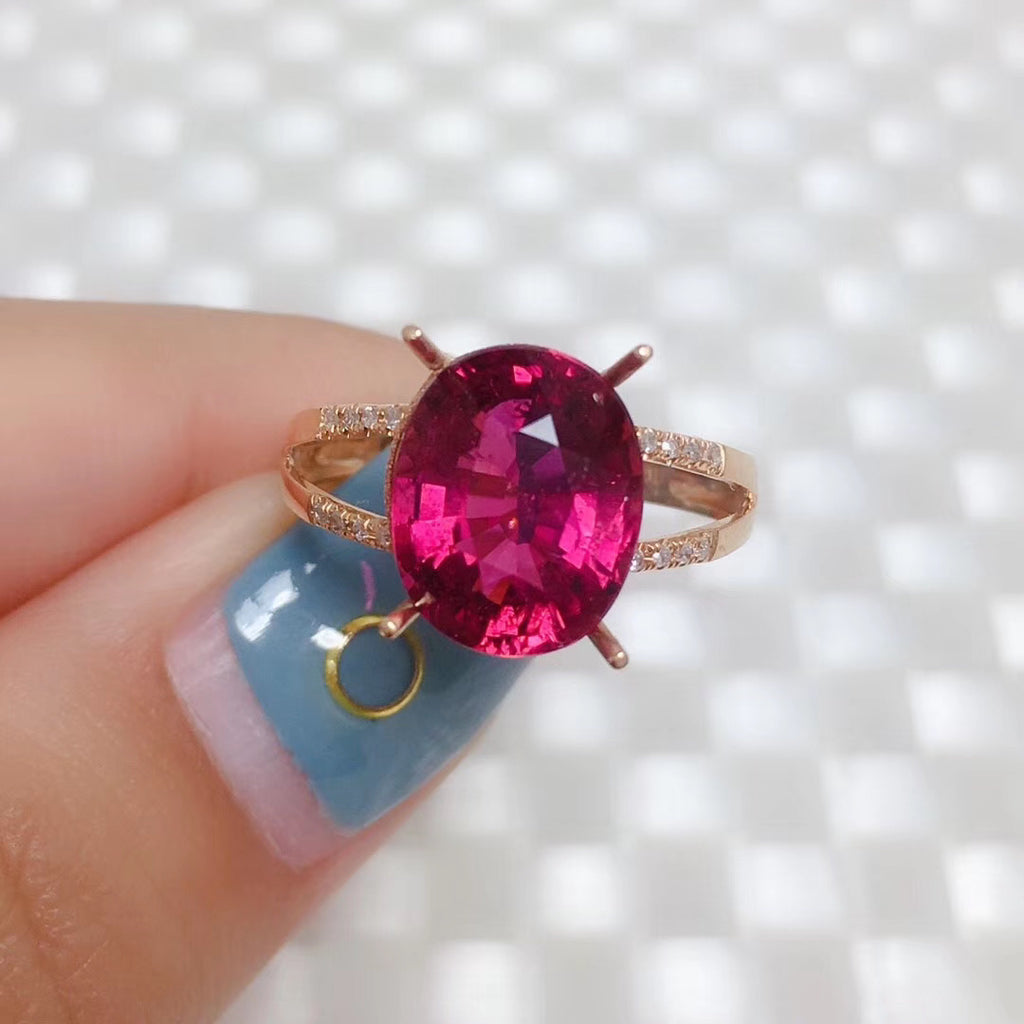18k gold red tourmaline ring