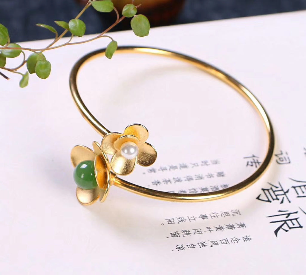 Gold plate Sterling silver open bangle green jade pearl