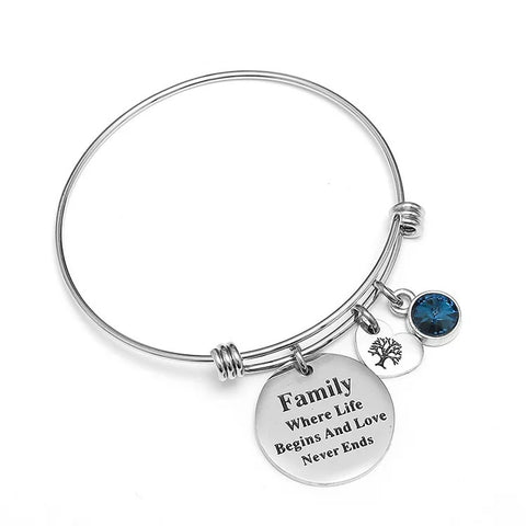 Push bangle bracelet with family tree pendant