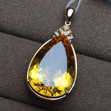 19k gold citrine diamond pendant for necklace - Xingjewelry