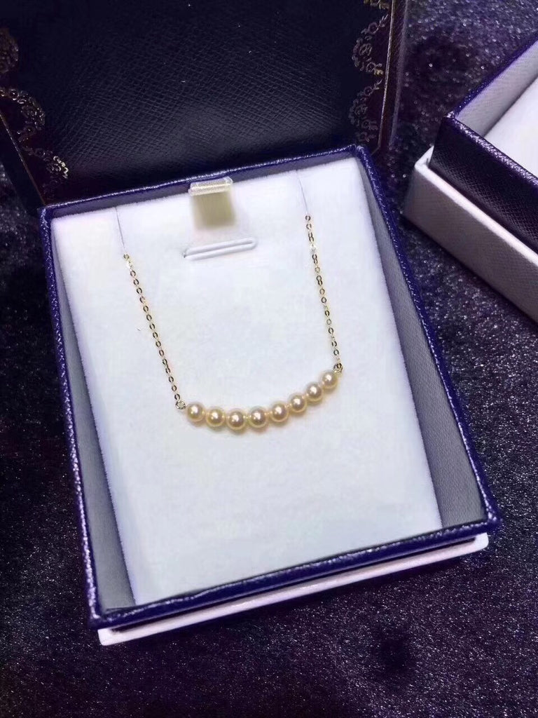 18k gold akoya pearl bead pendant necklace - Xingjewelry