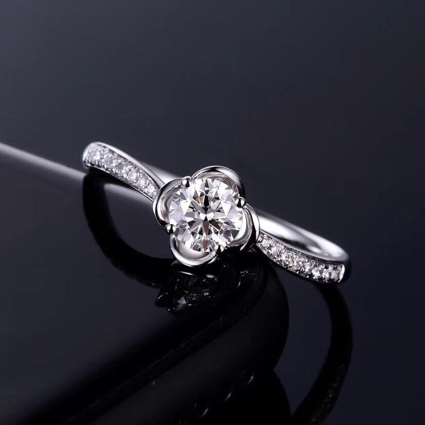 18k white gold platinum diamond flower ring - Xingjewelry