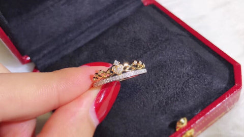 18k gold crown diamond ring - Xingjewelry