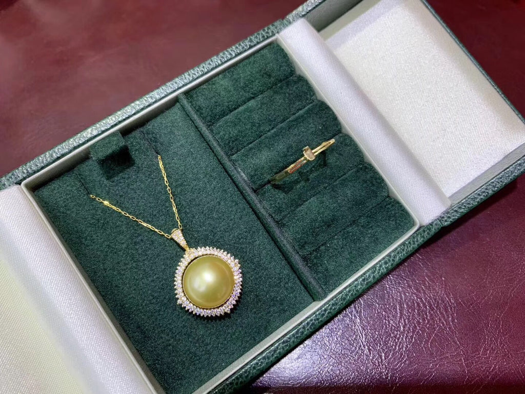 14k gold angle wing white pearl pendant necklace - Xingjewelry