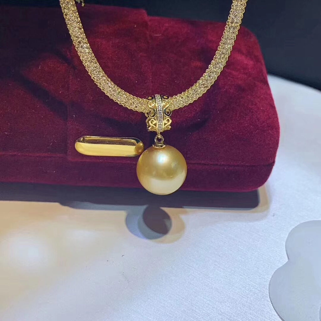 Gold plate 925 sterling silver south sea pearl pendant necklace