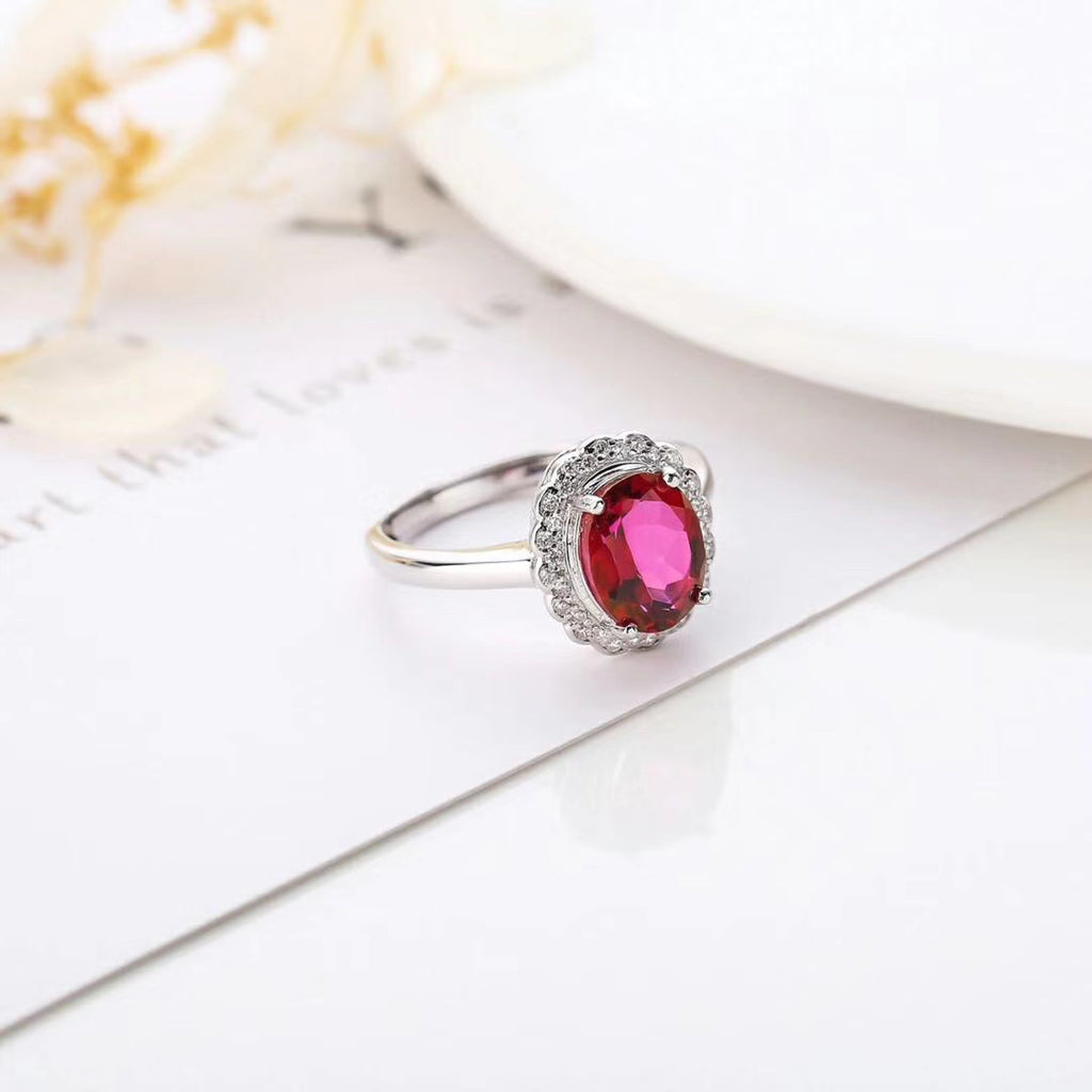 Sterling silver red topaz stone ring