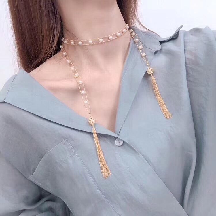 Fresh water white pearl tassel necklace