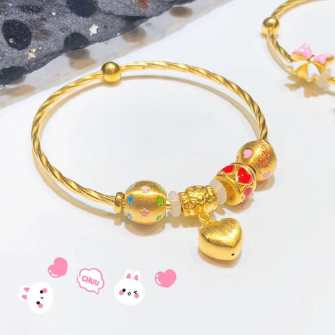 Solid 999 gold charm bracelet 4 pcs charms