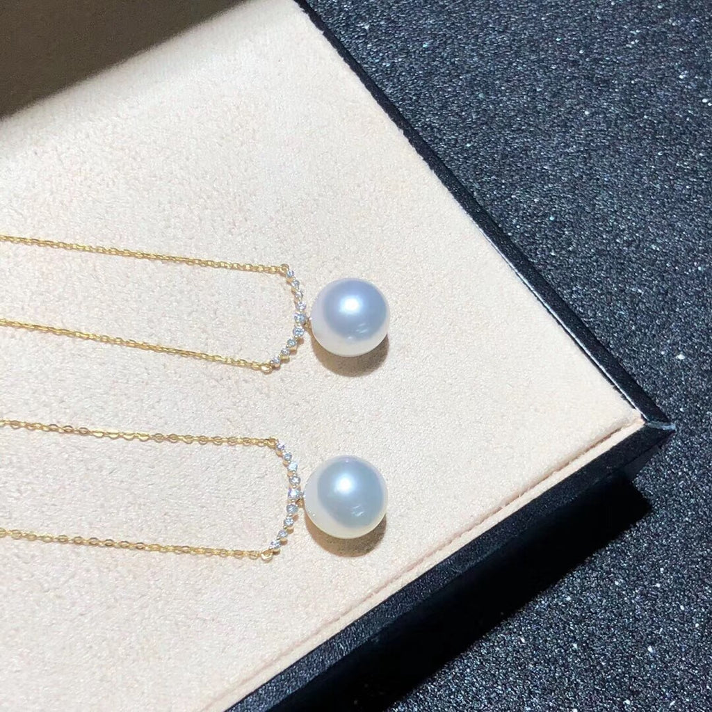 18k gold sapphire pearl necklace - Xingjewelry