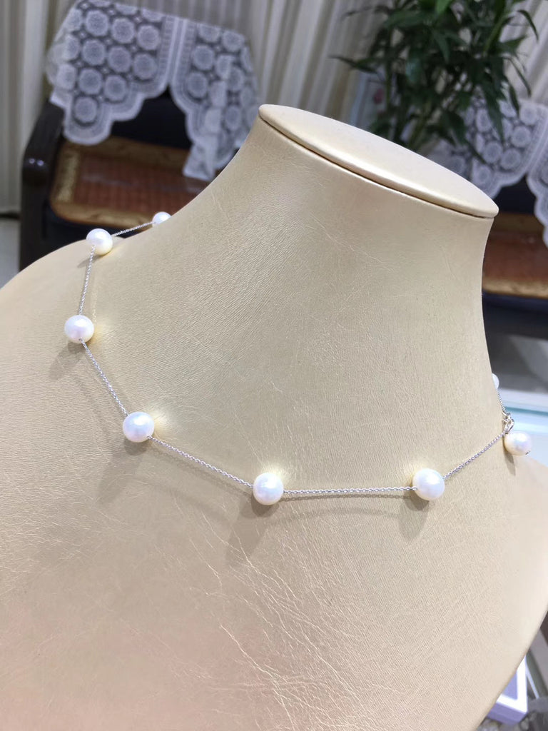 Sterling silver white pearl bead necklace