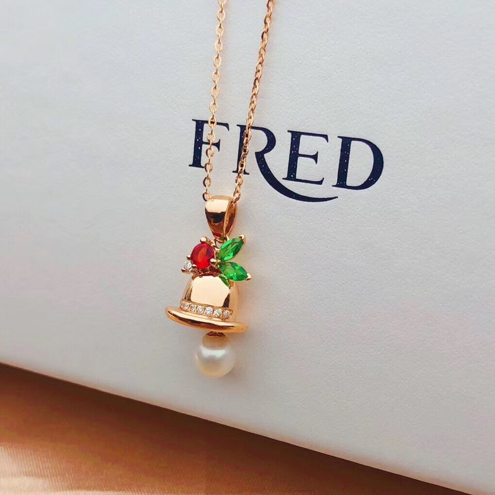 18k gold Christmas bell pendant necklace - Xingjewelry