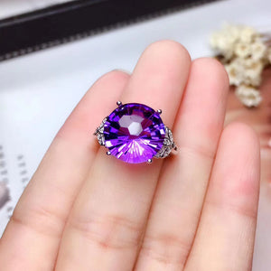 Sterling silver purple crystal wedding ring
