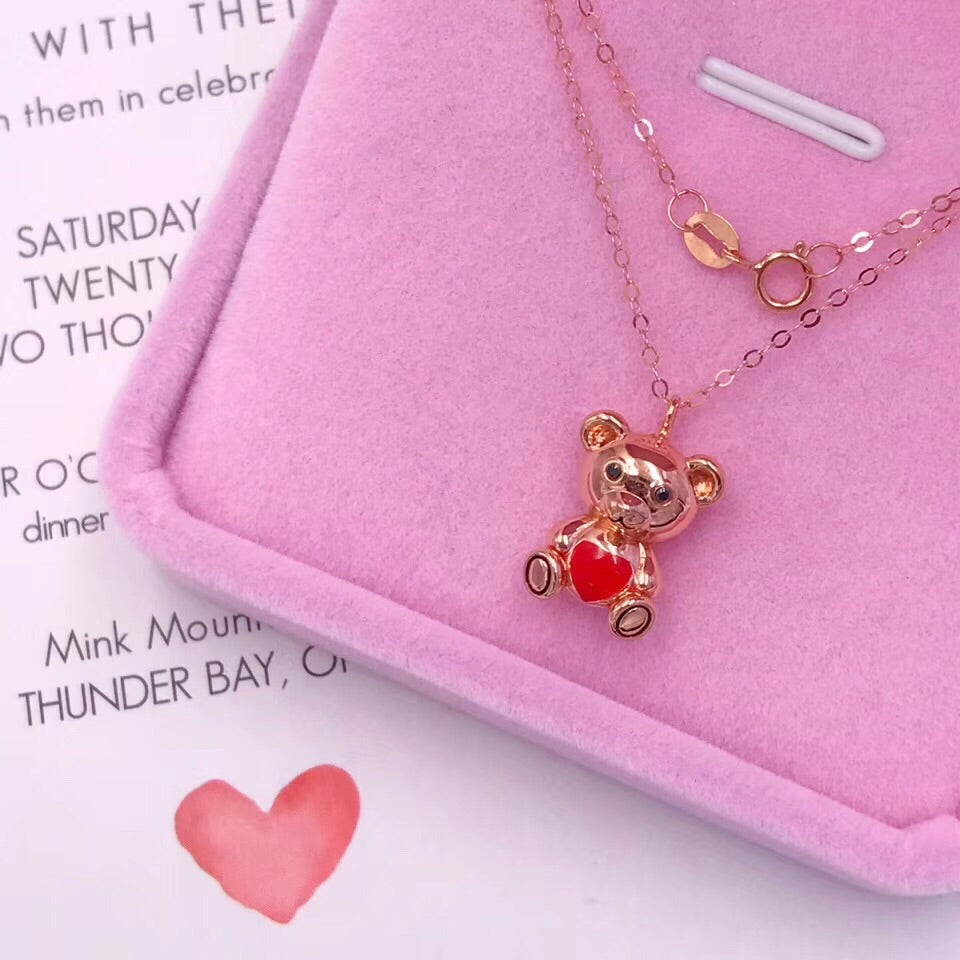 18k rose gold bear pendant necklace - Xingjewelry