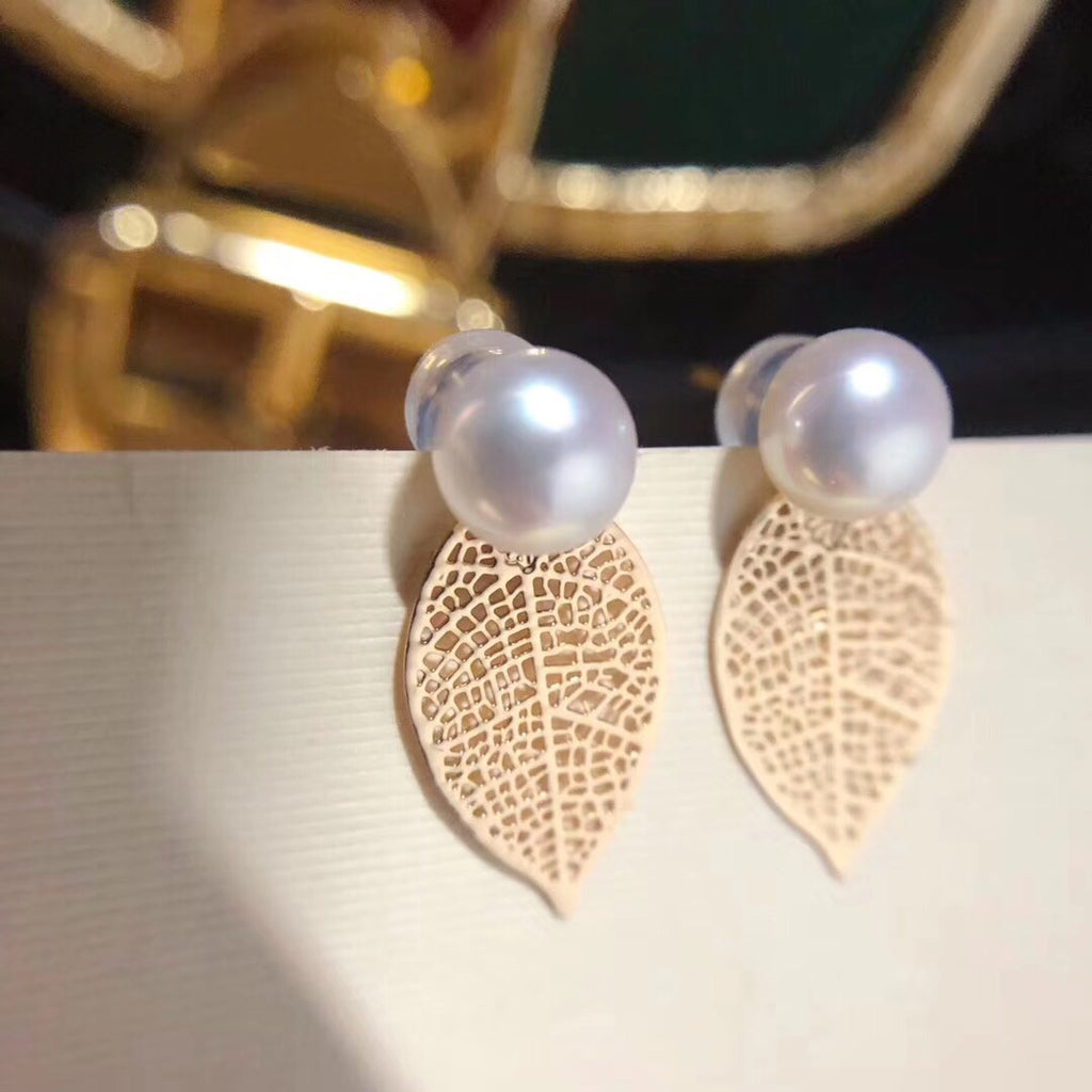 14k gold plate leaf white pearl earring - Xingjewelry