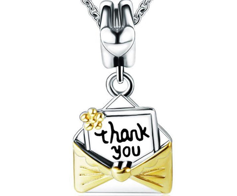 925 sterling silver thank you mail pendant - Xingjewelry