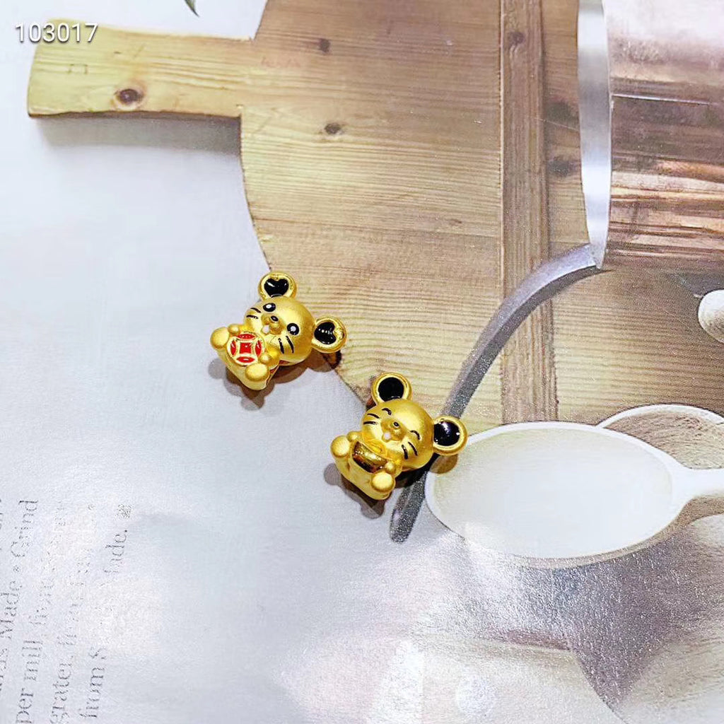 Solid gold fortune mouse charm 2 pcs
