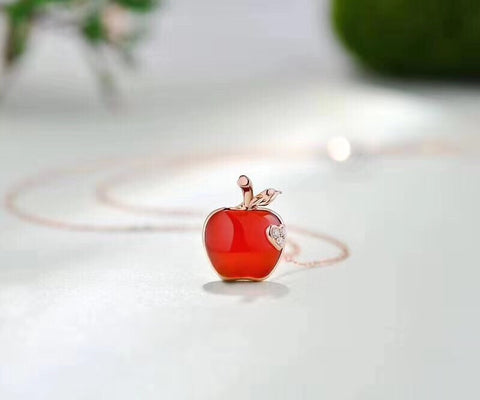 18k gold red Christmas apple necklace - Xingjewelry