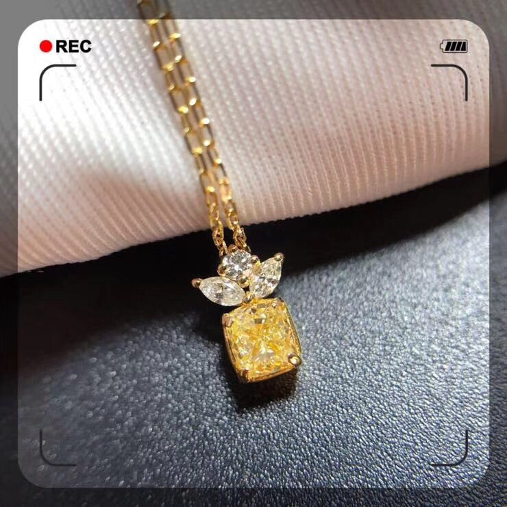 18k gold yellow diamond pendant necklace